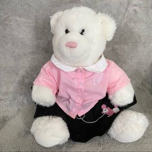 """Build A Bear 15"""" Teddy White Plush With Outfit"""